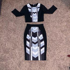 Chevron chic 2 piece skirt set